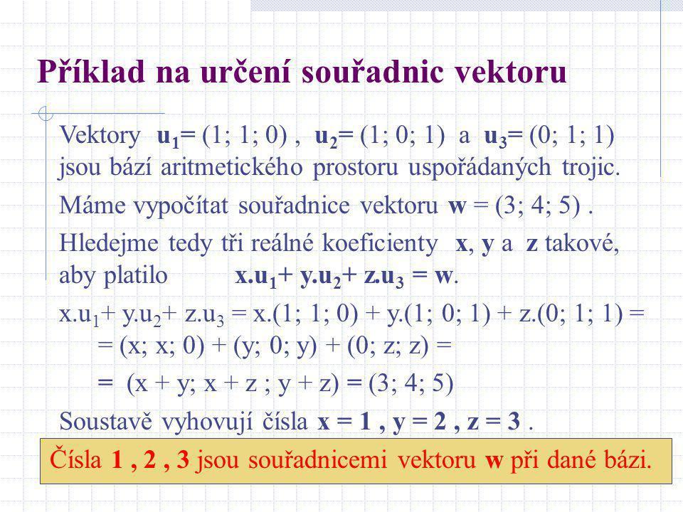 Příklad na určení souřadnic vektoru