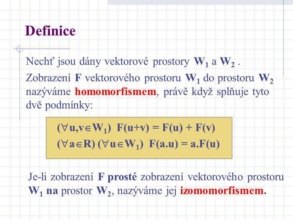 Definice Nechť jsou dány vektorové prostory W1 a W2 .