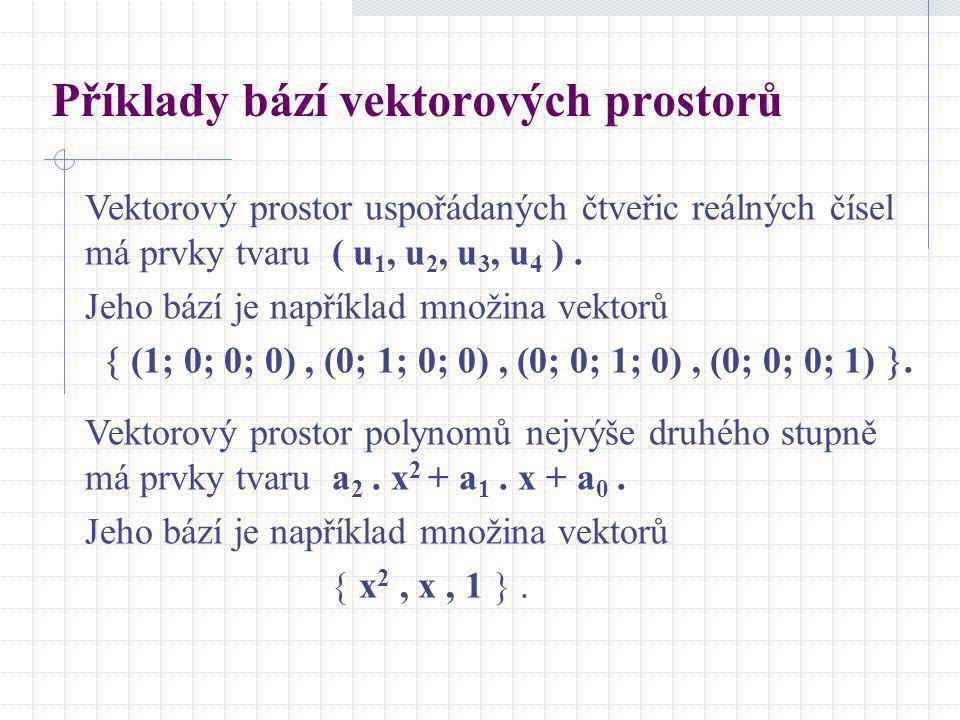 Příklady bází vektorových prostorů