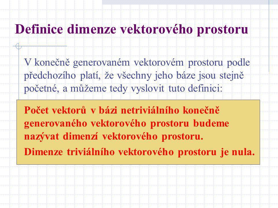 Definice dimenze vektorového prostoru
