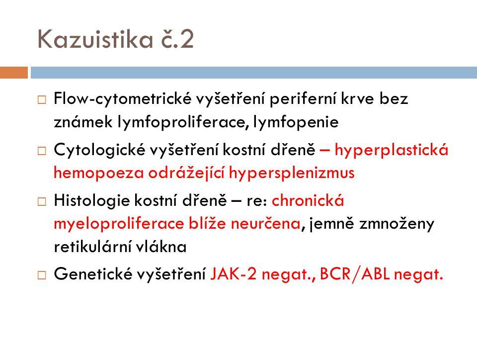Kazuistika č.2 Flow-cytometrické vyšetření periferní krve bez známek lymfoproliferace, lymfopenie.