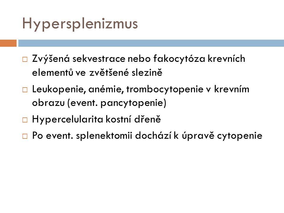 Hypersplenizmus Zvýšená sekvestrace nebo fakocytóza krevních elementů ve zvětšené slezině.