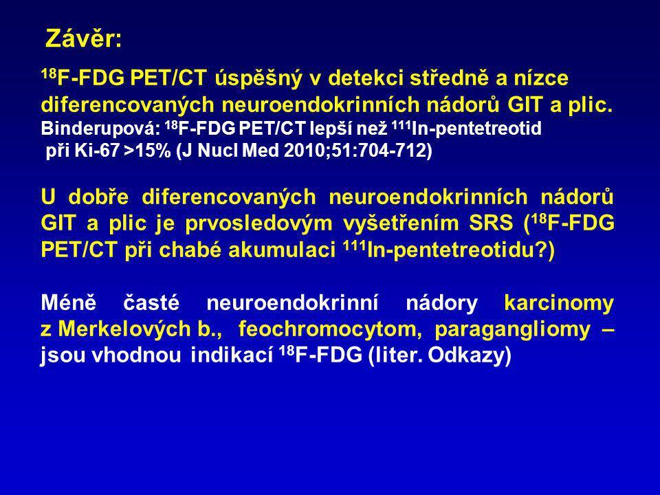 Závěr: 18F-FDG PET/CT úspěšný v detekci středně a nízce diferencovaných neuroendokrinních nádorů GIT a plic.