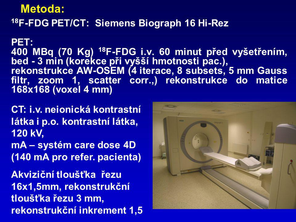 Metoda: 18F-FDG PET/CT: Siemens Biograph 16 Hi-Rez PET: