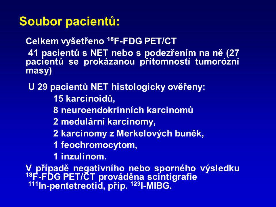 Soubor pacientů: Celkem vyšetřeno 18F-FDG PET/CT