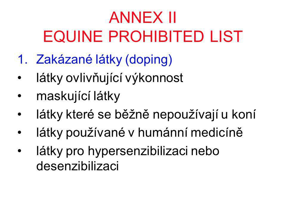 ANNEX II EQUINE PROHIBITED LIST