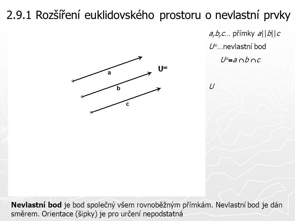 2.9.1 Rozšíření euklidovského prostoru o nevlastní prvky
