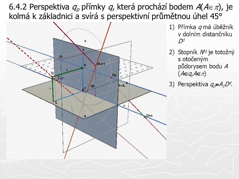 6.4.2 Perspektiva qp přímky q, která prochází bodem A(Ap), je kolmá k základnici a svírá s perspektivní průmětnou úhel 45°