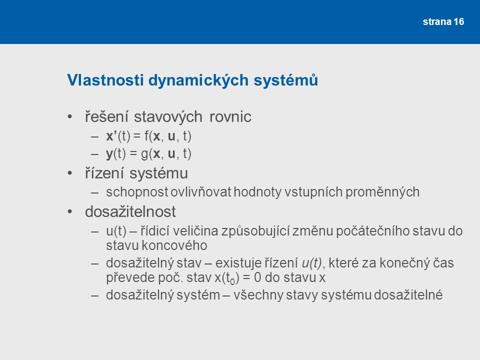 Vlastnosti dynamických systémů