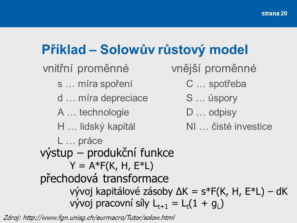 Příklad – Solowův růstový model