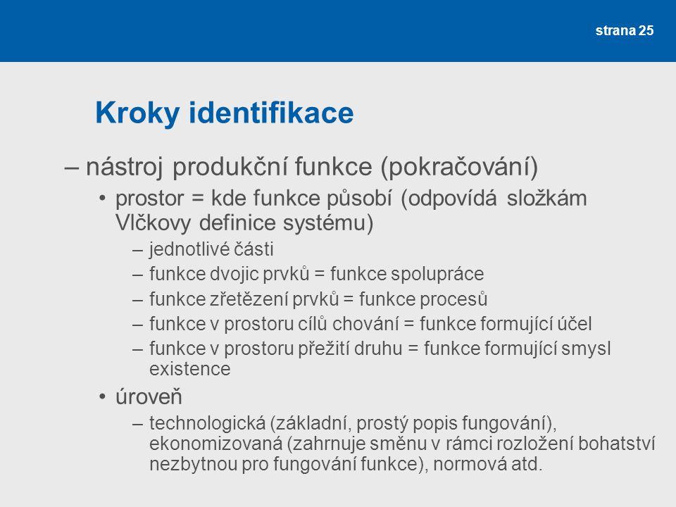 Kroky identifikace nástroj produkční funkce (pokračování)