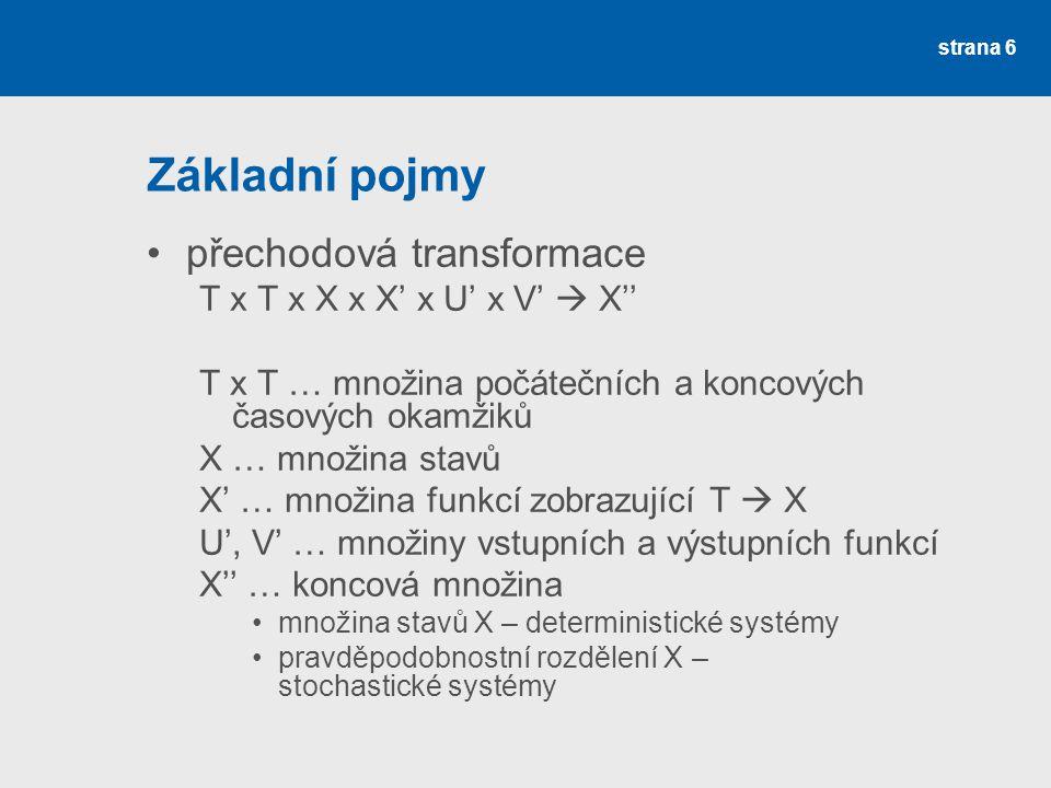 Základní pojmy přechodová transformace T x T x X x X' x U' x V'  X''