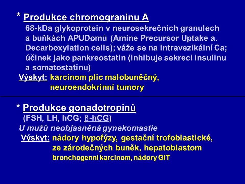 * Produkce chromograninu A 68-kDa glykoprotein v neurosekrečních granulech a buňkách APUDomů (Amine Precursor Uptake a.