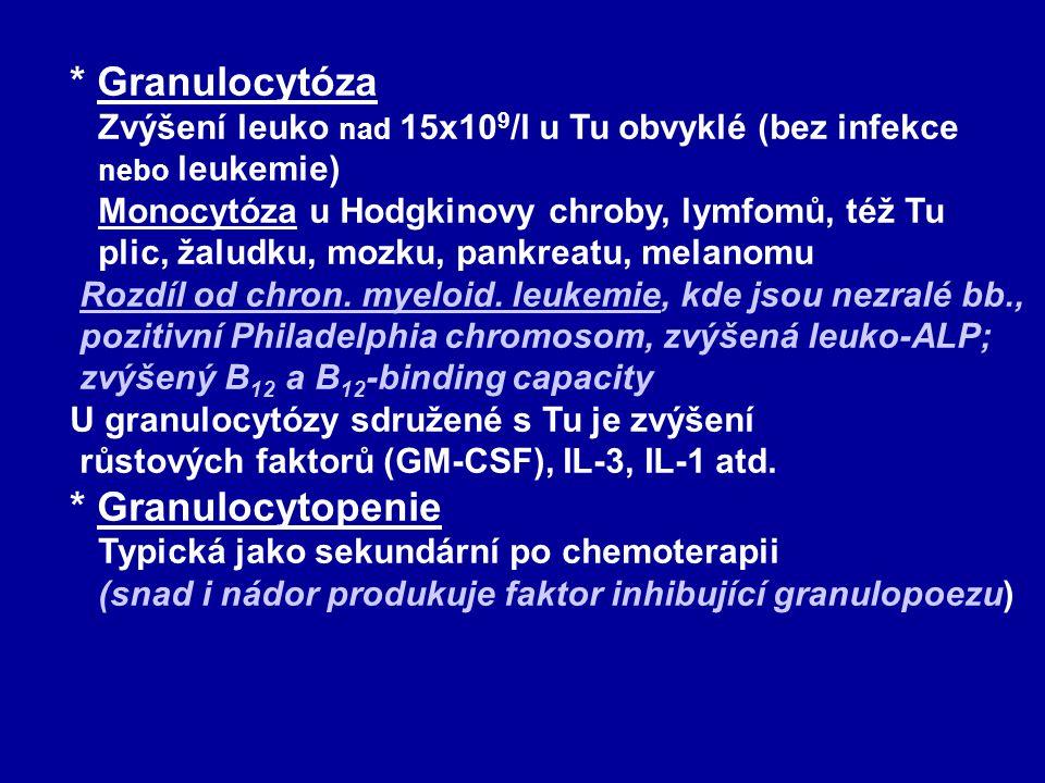 * Granulocytóza Zvýšení leuko nad 15x109/l u Tu obvyklé (bez infekce nebo leukemie) Monocytóza u Hodgkinovy chroby, lymfomů, též Tu plic, žaludku, mozku, pankreatu, melanomu Rozdíl od chron. myeloid. leukemie, kde jsou nezralé bb., pozitivní Philadelphia chromosom, zvýšená leuko-ALP; zvýšený B12 a B12-binding capacity U granulocytózy sdružené s Tu je zvýšení růstových faktorů (GM-CSF), IL-3, IL-1 atd.