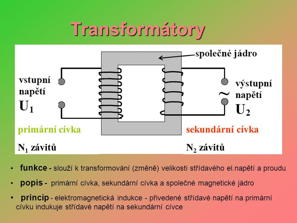 Transformátory primární cívka N1 závitů sekundární cívka N2 závitů