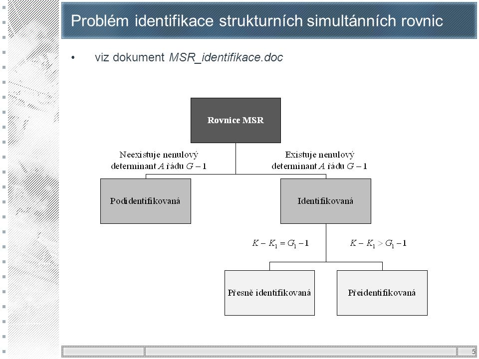Problém identifikace strukturních simultánních rovnic