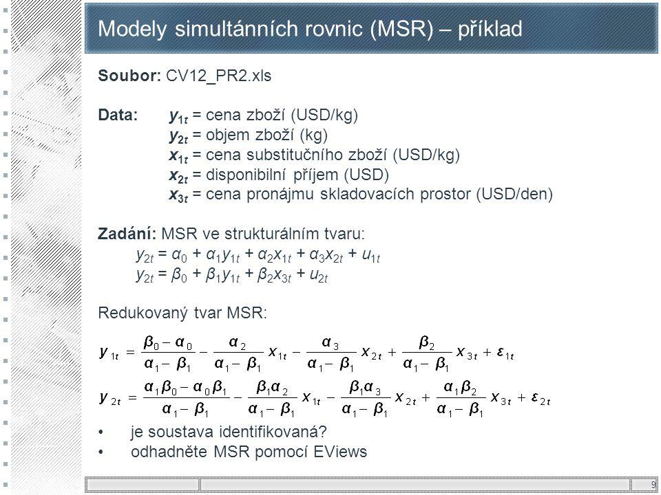 Modely simultánních rovnic (MSR) – příklad