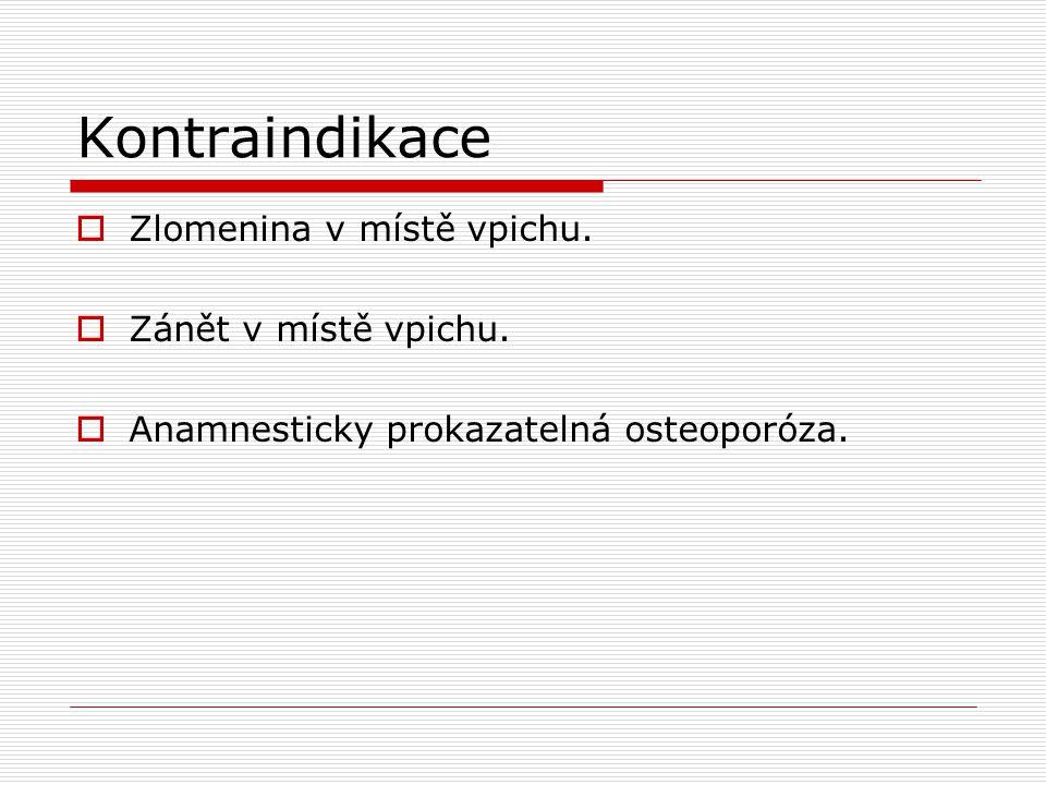 Kontraindikace Zlomenina v místě vpichu. Zánět v místě vpichu.