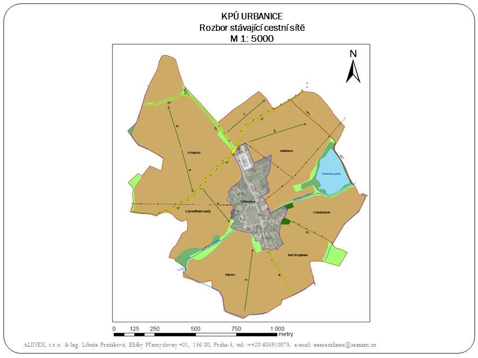 KPÚ URBANICE Rozbor stávající cestní sítě M 1: 5000