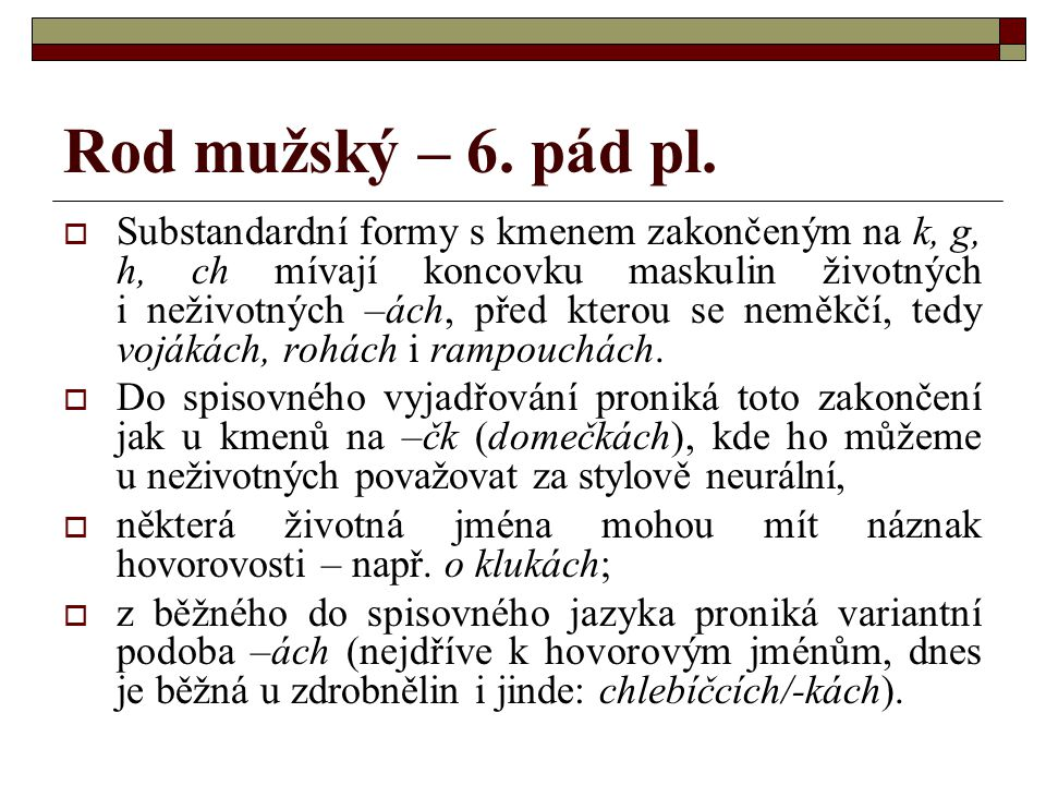 Rod mužský – 6. pád pl.