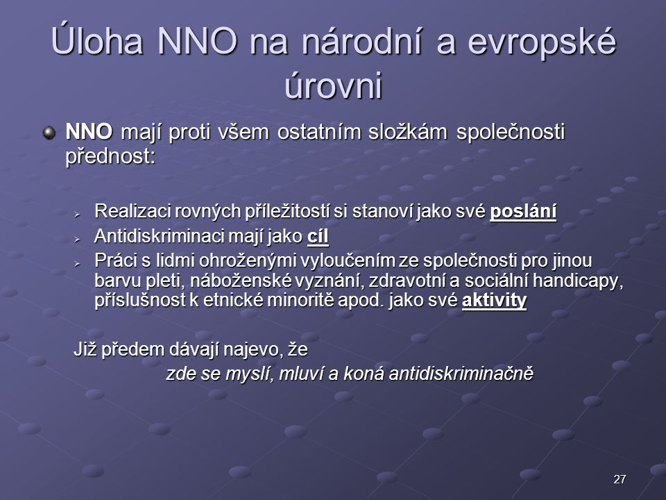Úloha NNO na národní a evropské úrovni
