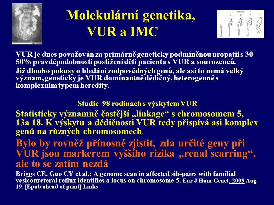 Molekulární genetika, VUR a IMC
