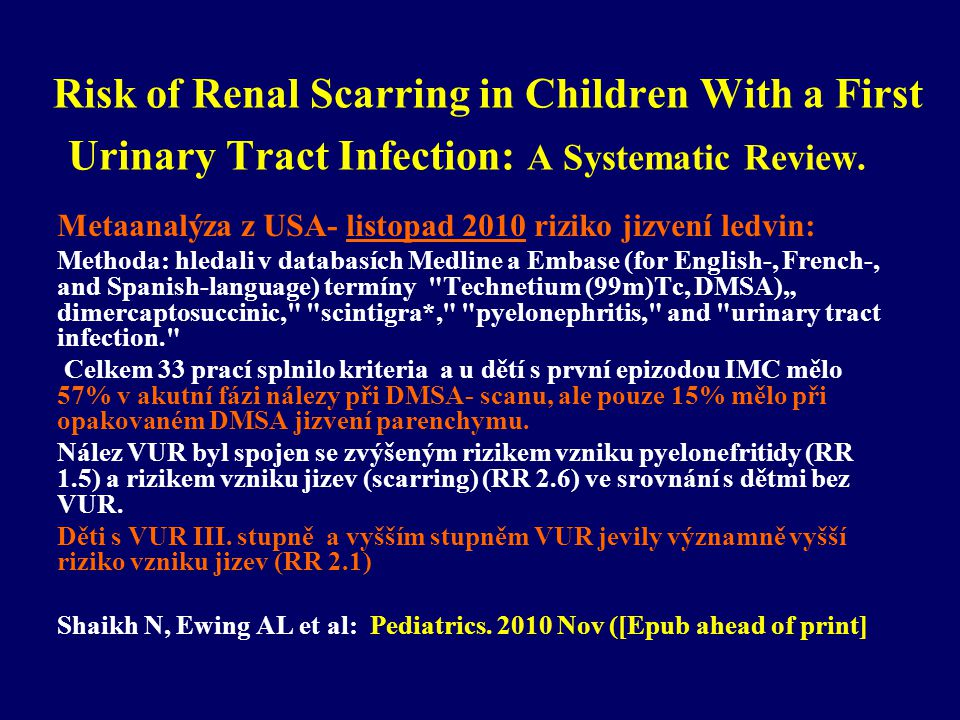 Risk of Renal Scarring in Children With a First Urinary Tract Infection: A Systematic Review.