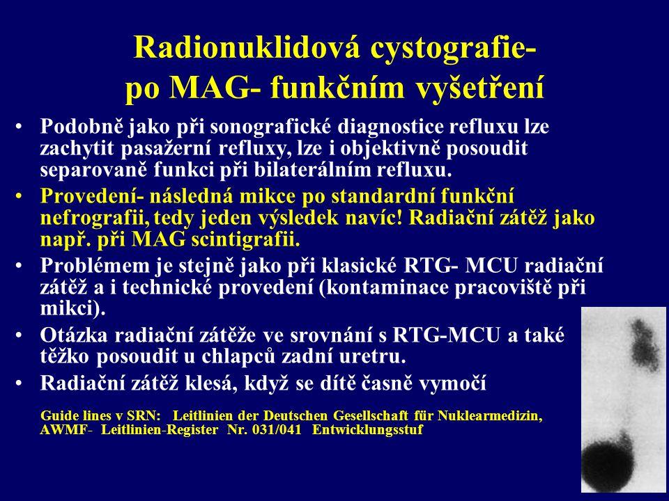 Radionuklidová cystografie- po MAG- funkčním vyšetření