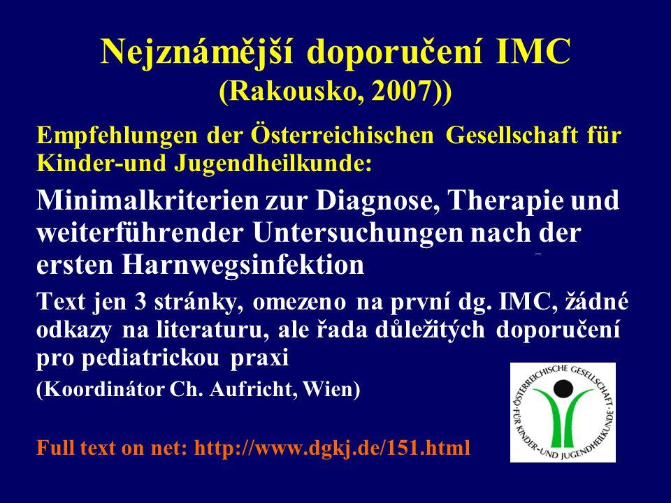 Nejznámější doporučení IMC (Rakousko, 2007))