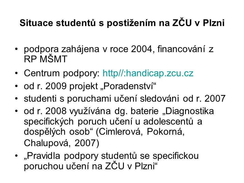 Situace studentů s postižením na ZČU v Plzni