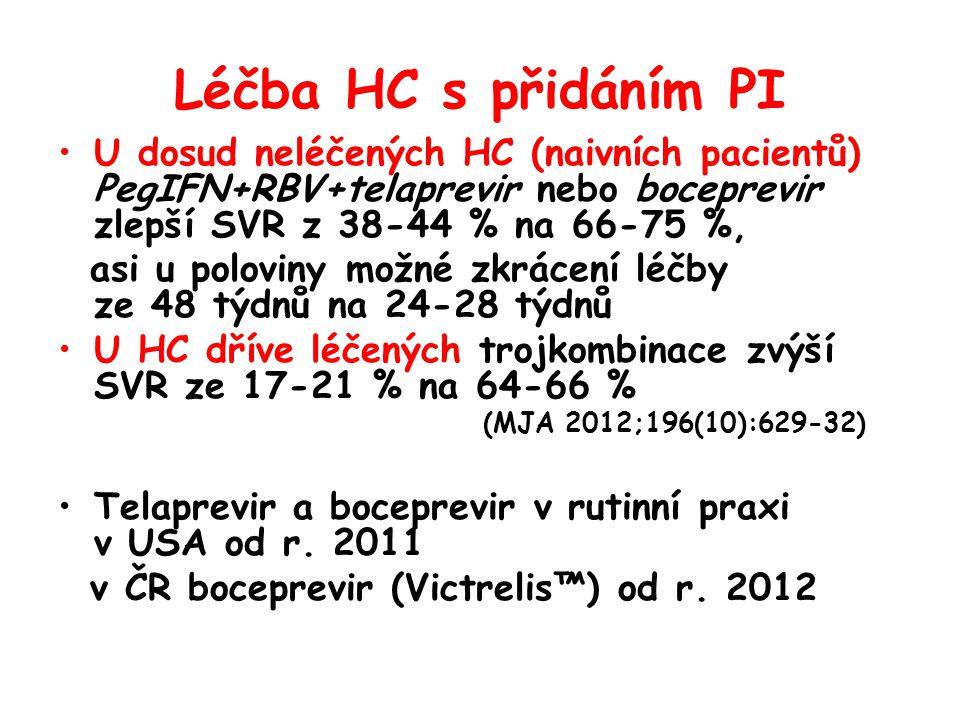 Léčba HC s přidáním PI U dosud neléčených HC (naivních pacientů) PegIFN+RBV+telaprevir nebo boceprevir zlepší SVR z 38-44 % na 66-75 %,