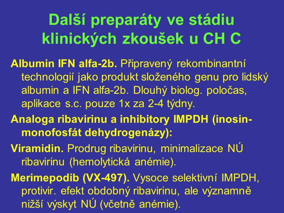 Další preparáty ve stádiu klinických zkoušek u CH C
