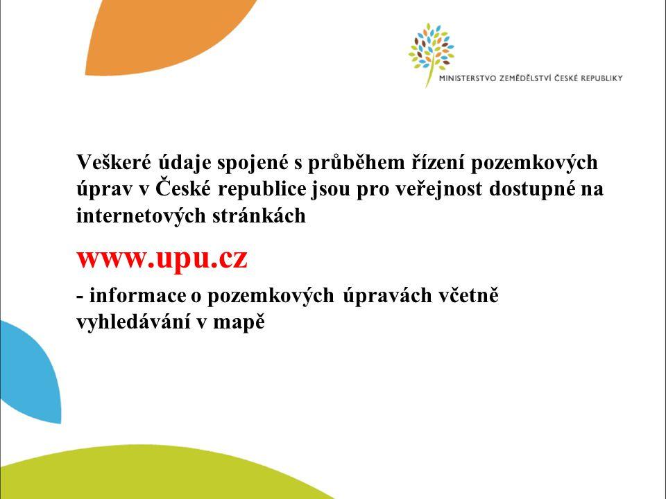 Veškeré údaje spojené s průběhem řízení pozemkových úprav v České republice jsou pro veřejnost dostupné na internetových stránkách