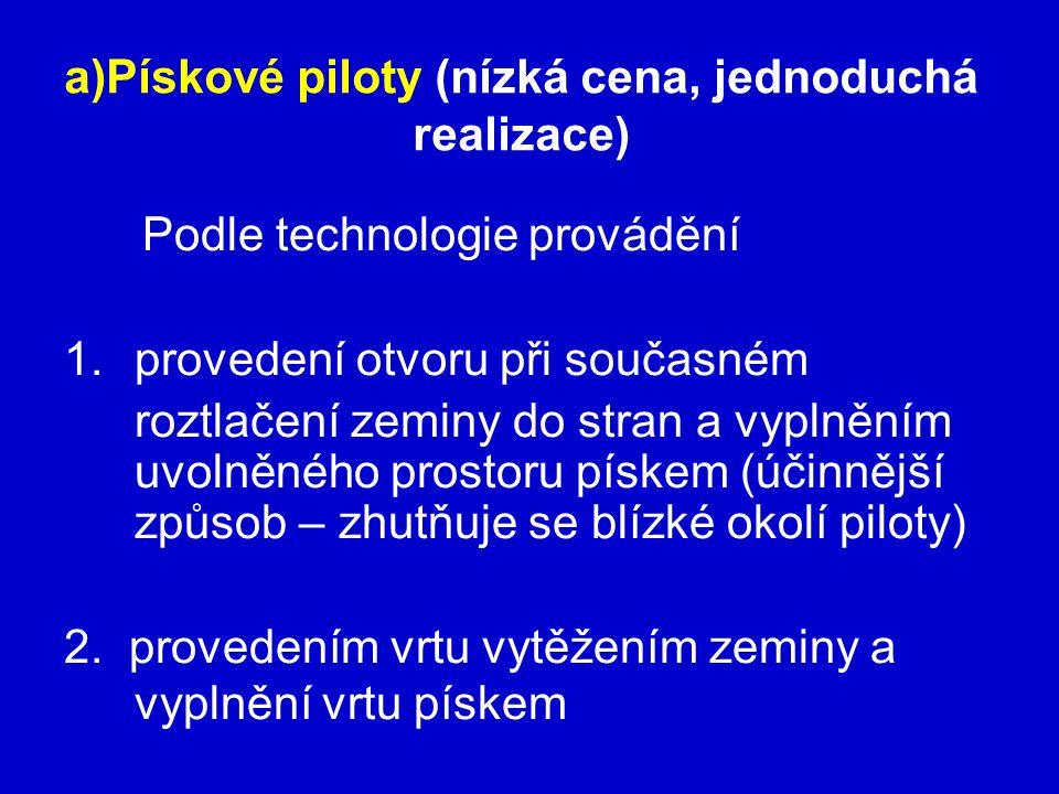 a)Pískové piloty (nízká cena, jednoduchá realizace)