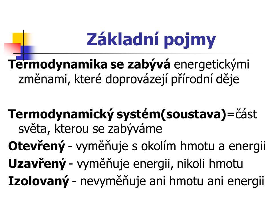 Základní pojmy Termodynamika se zabývá energetickými změnami, které doprovázejí přírodní děje.
