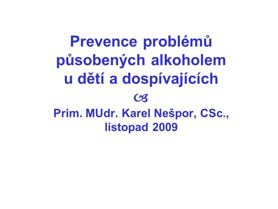 Prevence problémů působených alkoholem u dětí a dospívajících  Prim