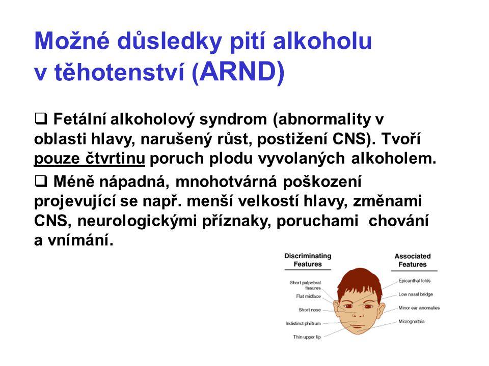Možné důsledky pití alkoholu v těhotenství (ARND)