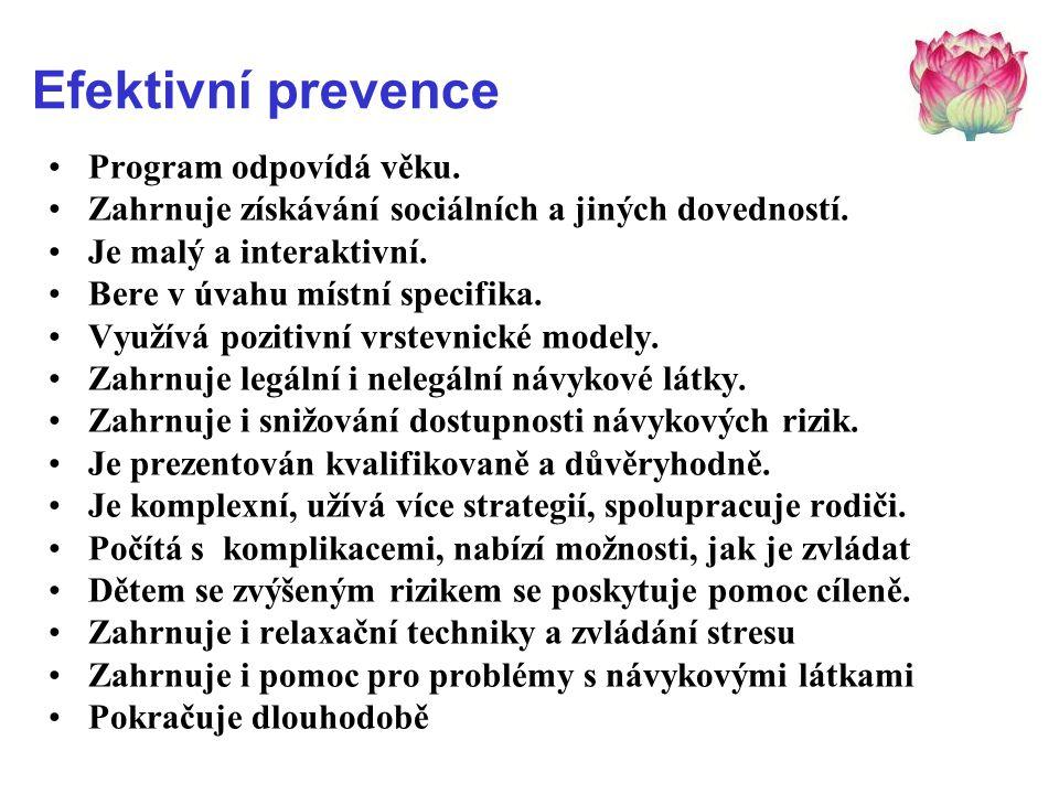 Efektivní prevence Program odpovídá věku.