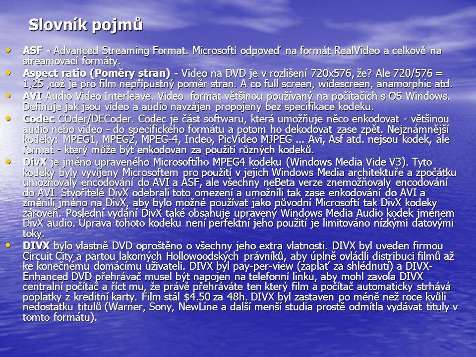 Slovník pojmů ASF - Advanced Streaming Format. Microsoftí odpoveď na formát RealVideo a celkově na streamovací formáty.