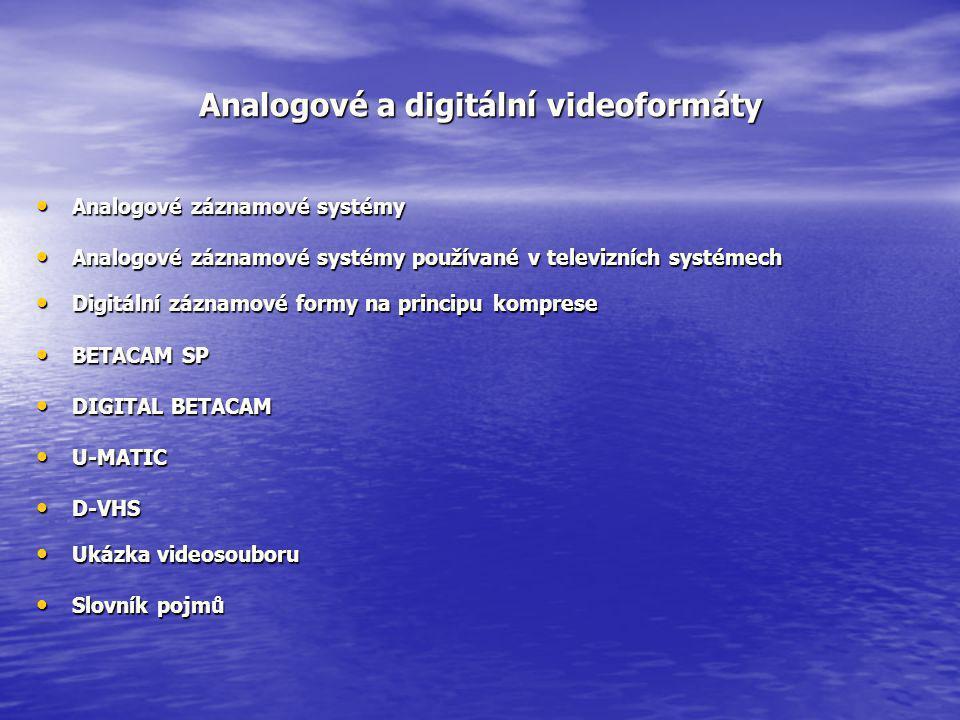 Analogové a digitální videoformáty
