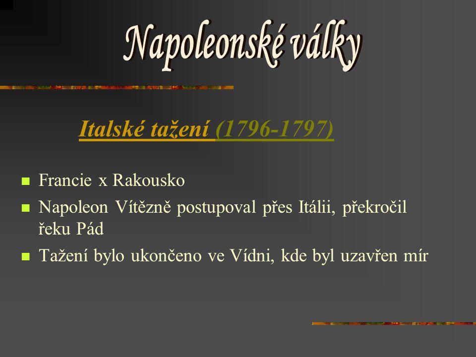 Napoleonské války Italské tažení (1796-1797) Francie x Rakousko
