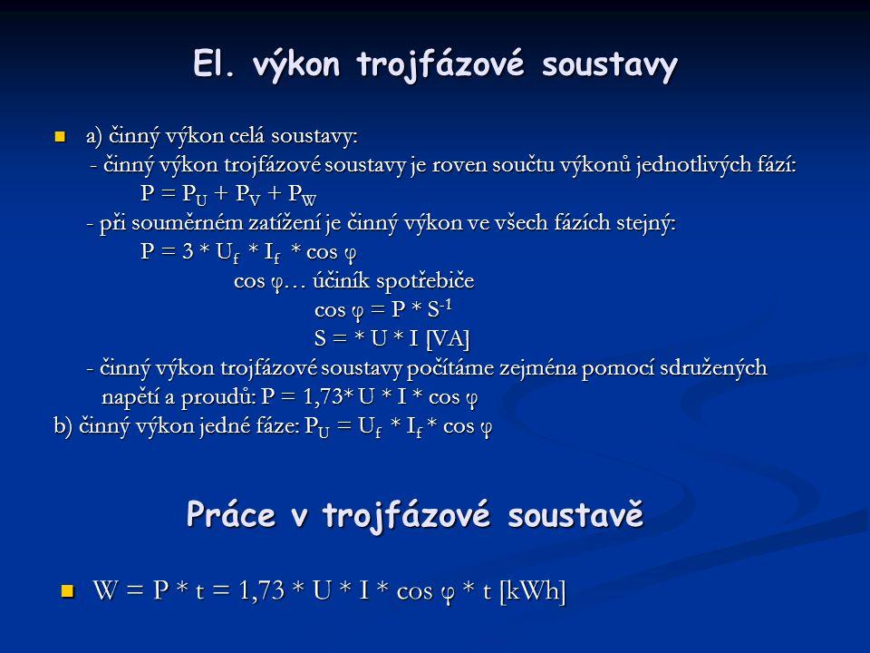El. výkon trojfázové soustavy
