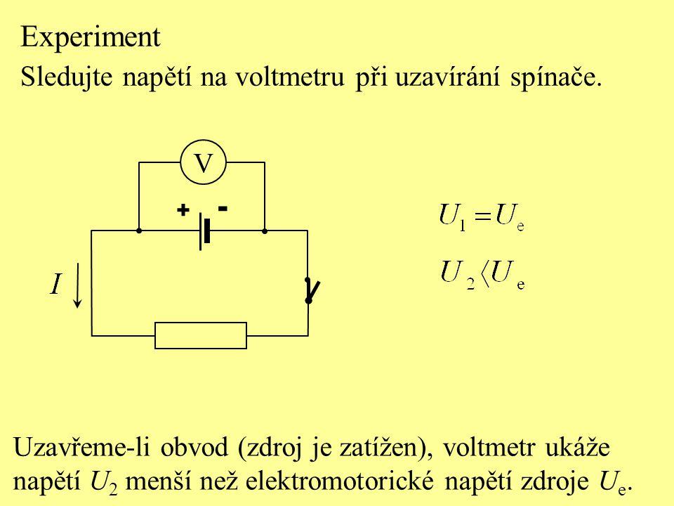 Experiment - Sledujte napětí na voltmetru při uzavírání spínače. V