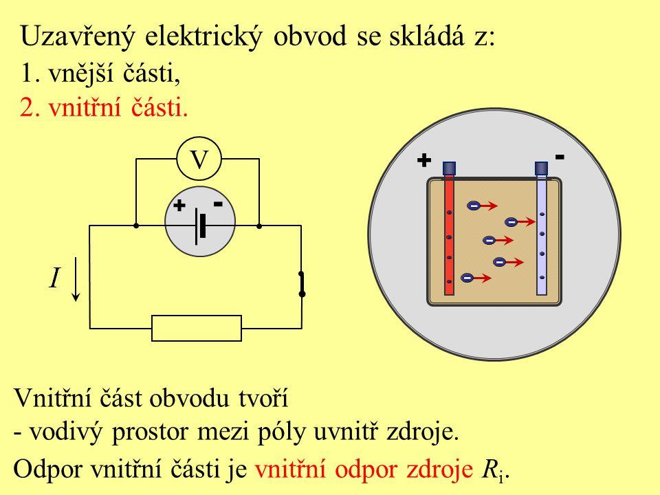 Uzavřený elektrický obvod se skládá z: