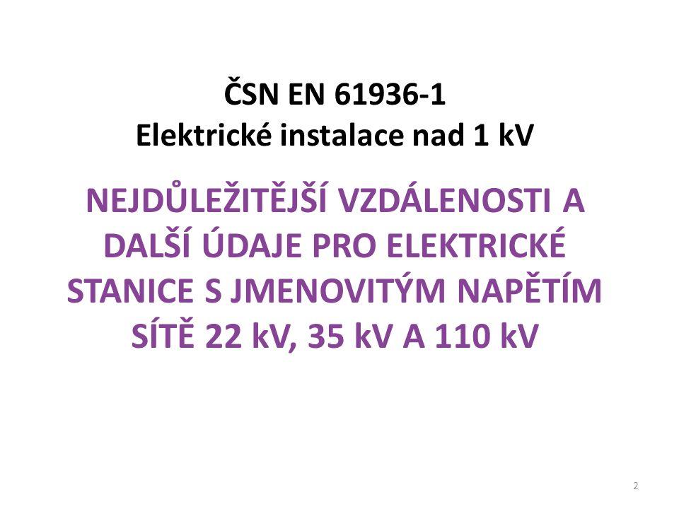 ČSN EN 61936-1 Elektrické instalace nad 1 kV NEJDŮLEŽITĚJŠÍ VZDÁLENOSTI A DALŠÍ ÚDAJE PRO ELEKTRICKÉ STANICE S JMENOVITÝM NAPĚTÍM SÍTĚ 22 kV, 35 kV A 110 kV