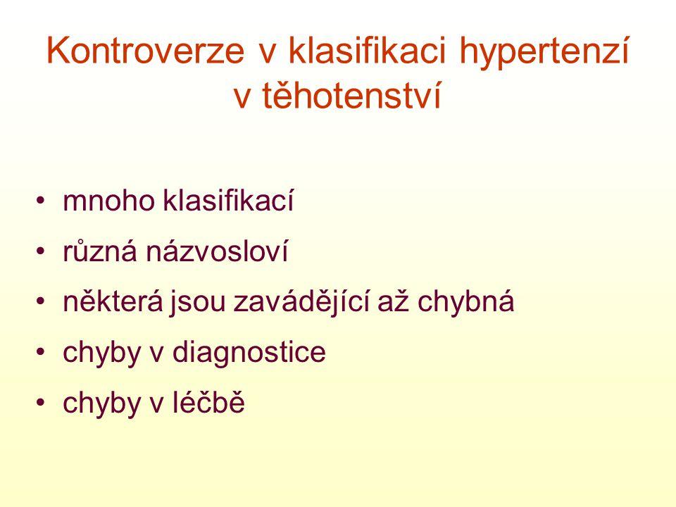 Kontroverze v klasifikaci hypertenzí v těhotenství