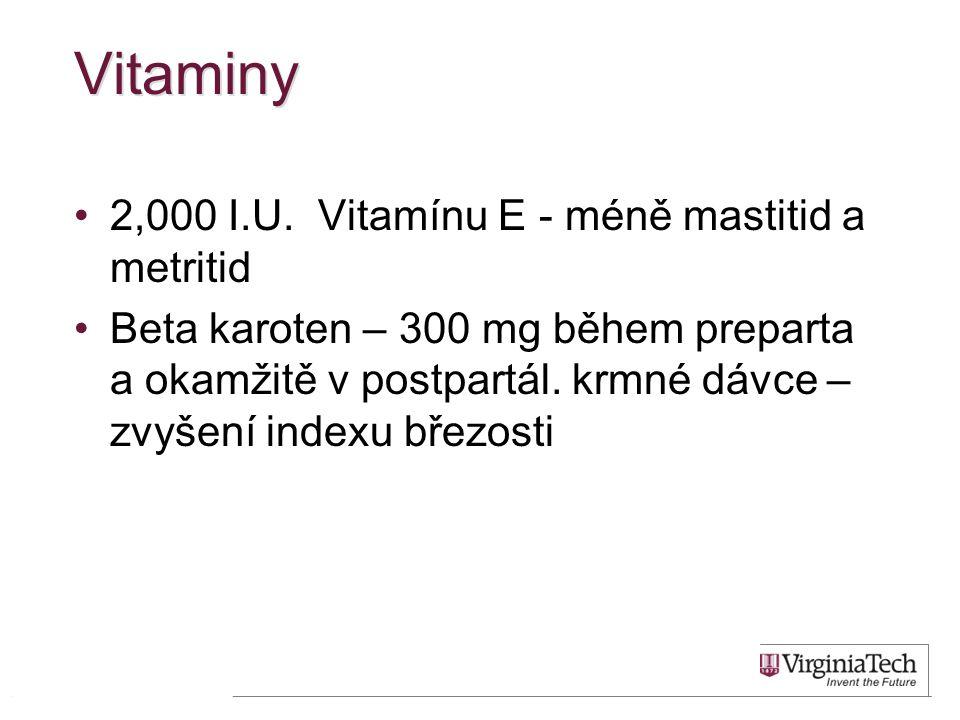 Vitaminy 2,000 I.U. Vitamínu E - méně mastitid a metritid