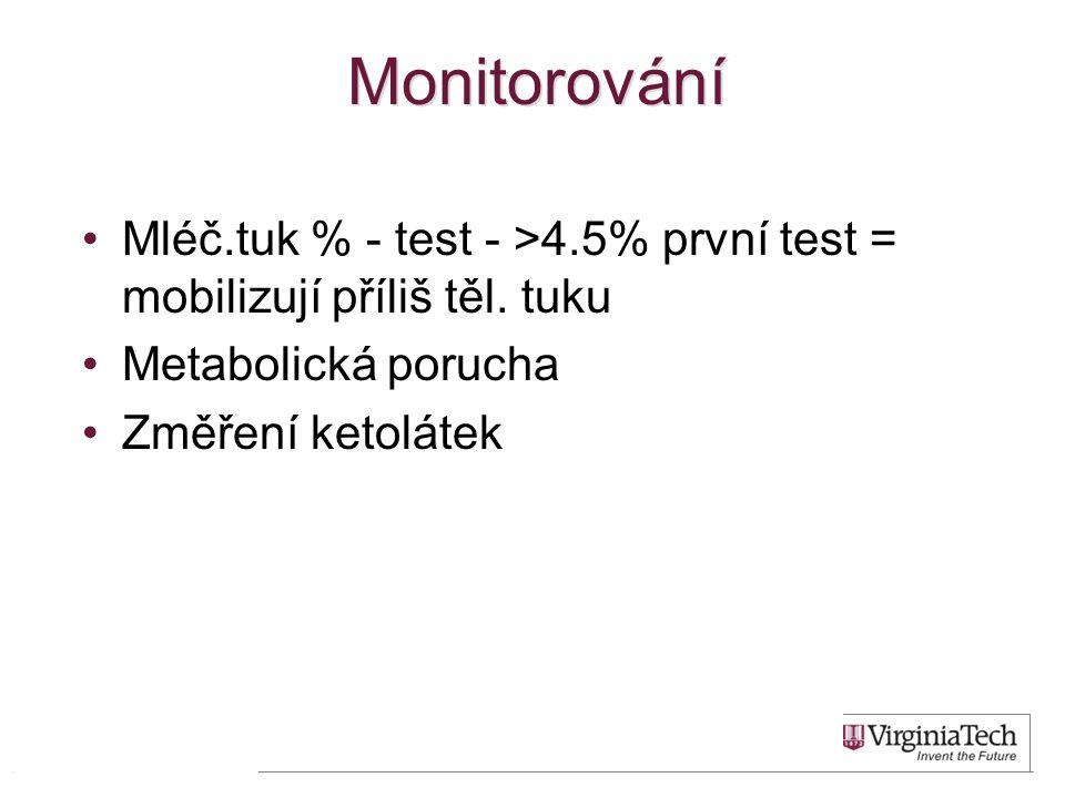 Monitorování Mléč.tuk % - test - >4.5% první test = mobilizují příliš těl. tuku. Metabolická porucha.