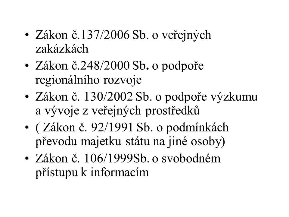 Zákon č.137/2006 Sb. o veřejných zakázkách