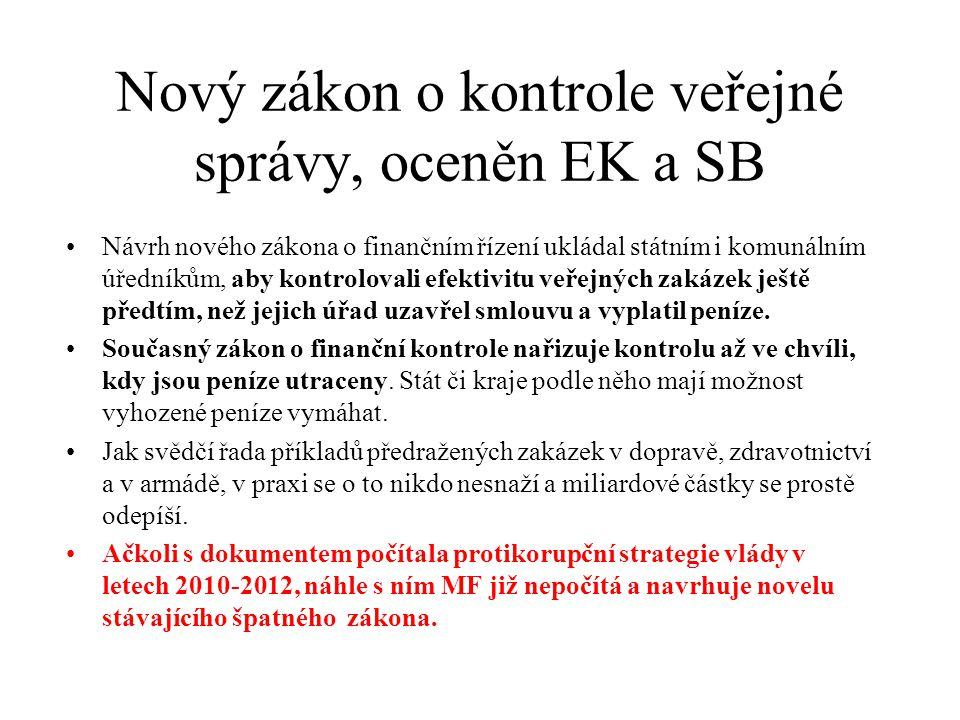 Nový zákon o kontrole veřejné správy, oceněn EK a SB